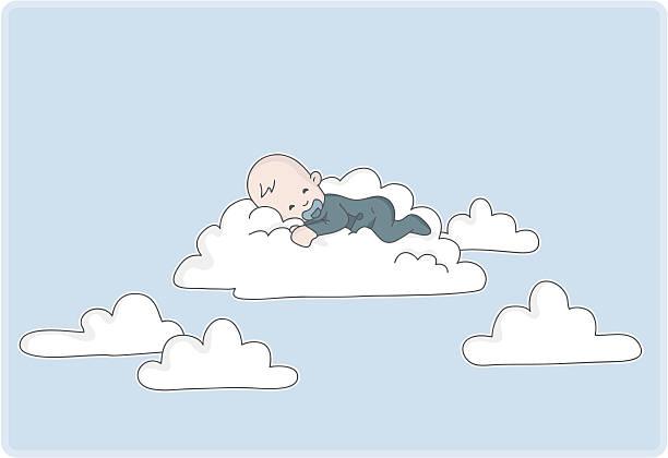 stockillustraties, clipart, cartoons en iconen met newborn baby boy sleeps on a cloud - alleen één jongensbaby