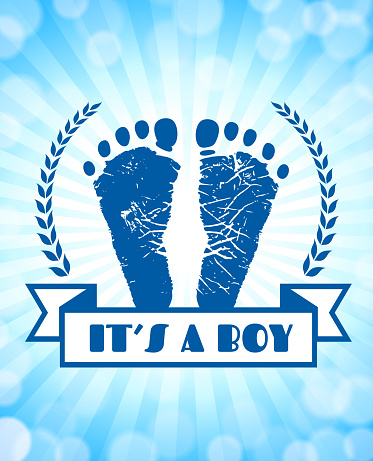 Newborn Baby Footprints Commemoration Blue Badge