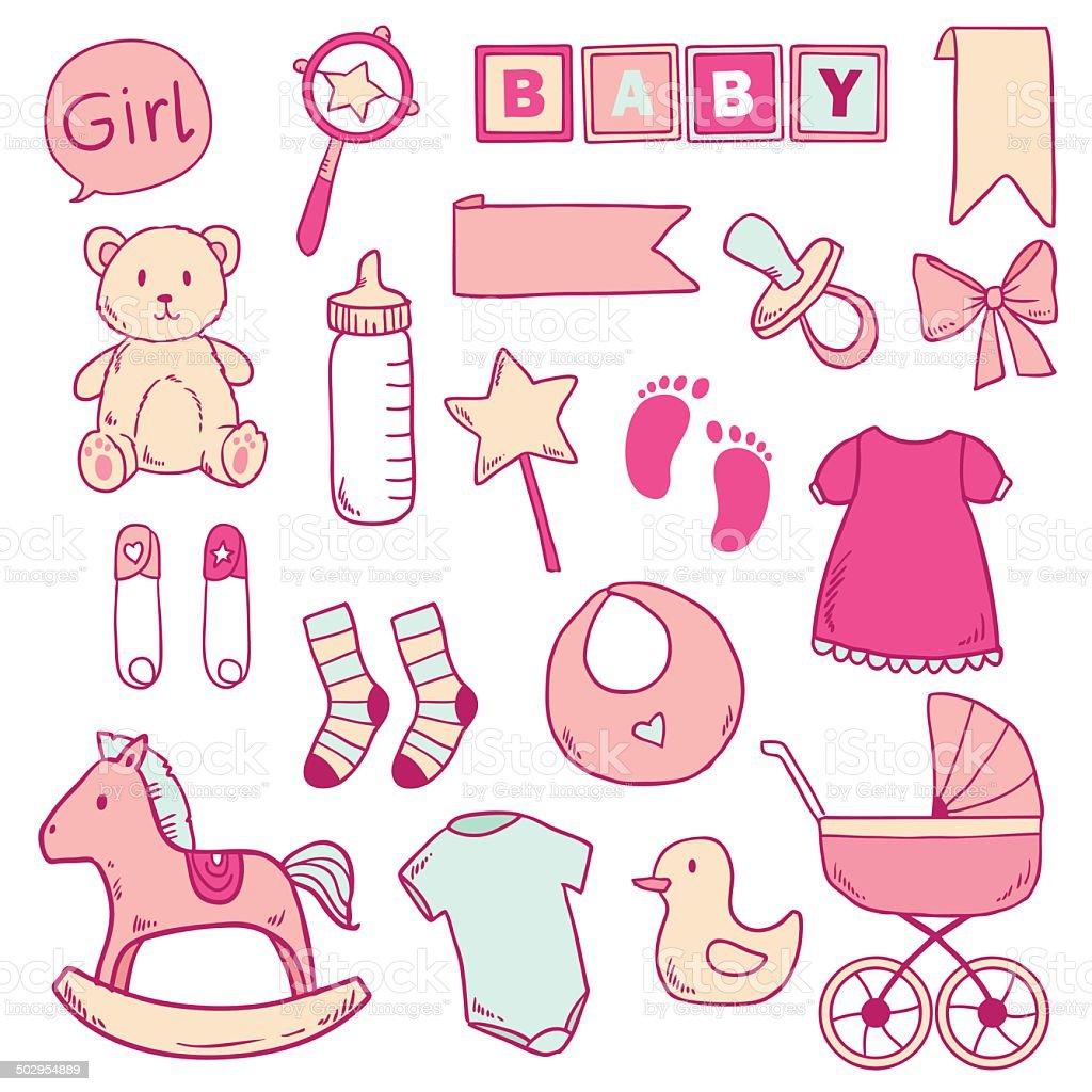 新生児の女の子とかわいいアイコンのクリップアート - おしゃぶりの