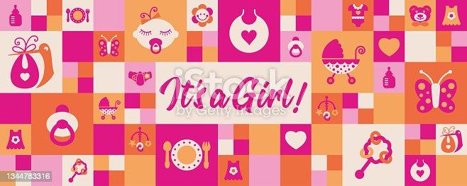 istock Newborn Baby Girl geometric greeting card 1344783316