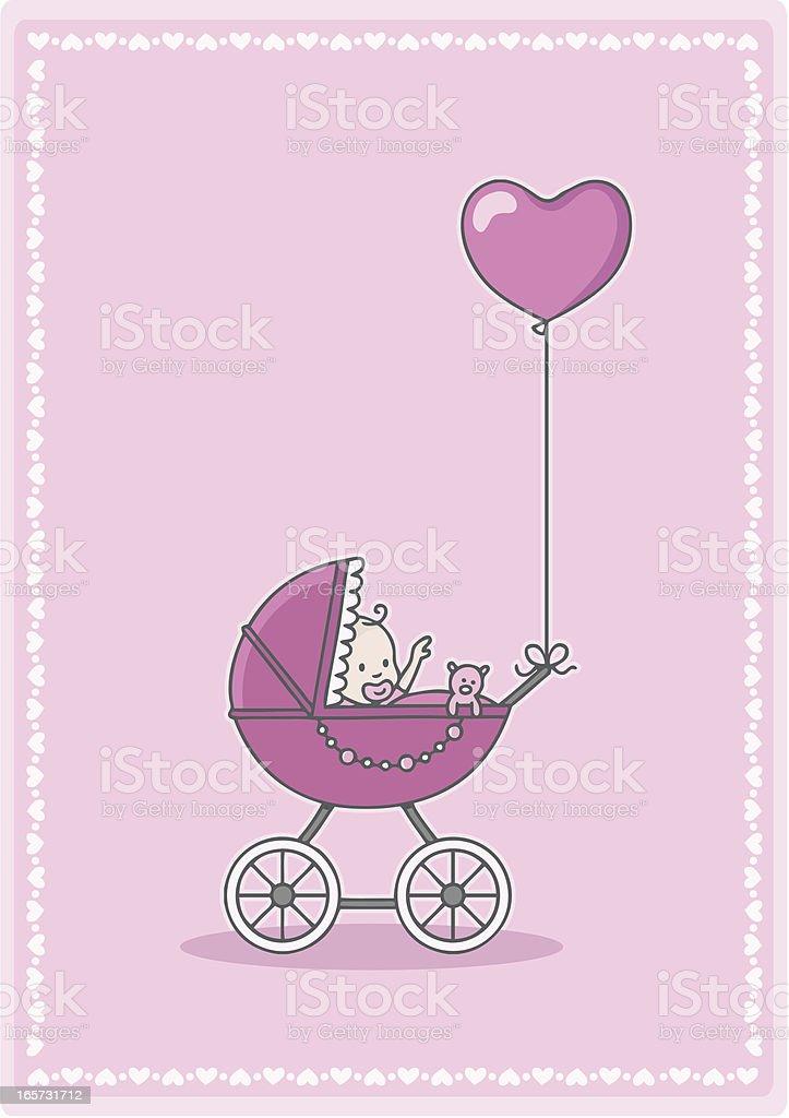 newborn baby girl in the stroller with heart balloon vector art illustration