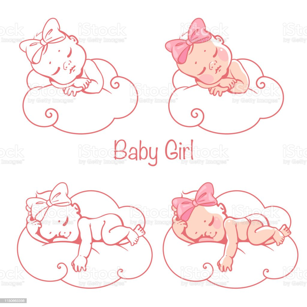 Newborn Baby Girl Sleeping On Cloud Stock Illustration Download Image Now Istock