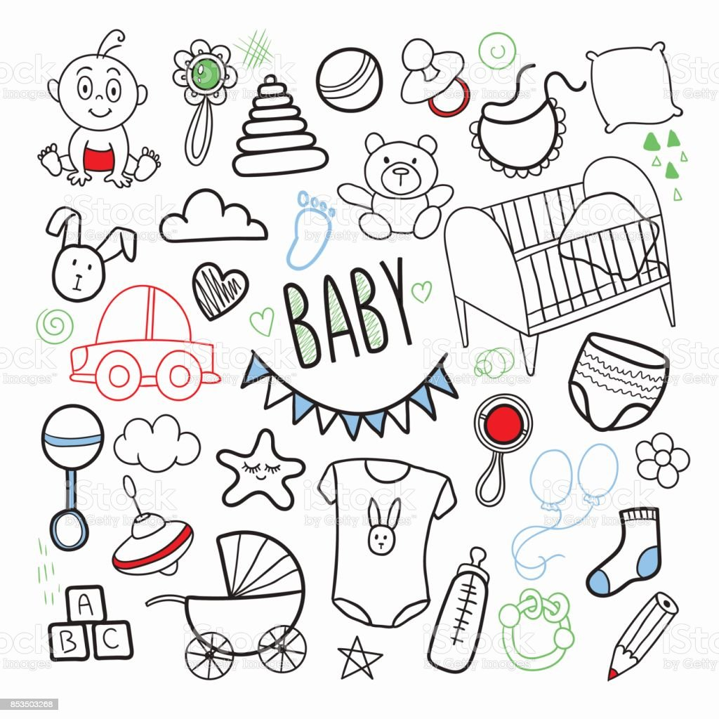 Newborn Baby Hand Drawn Doodle with Toys vector art illustration
