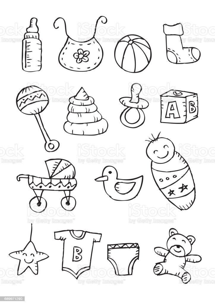 Icônes du nouveau-né. Style de griffonnages. - Illustration vectorielle