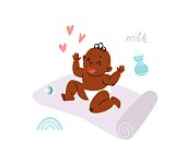 A newborn baby in a diaper sits on a gymnastic mat, next to it is a pacifier, toys and a bottle of milk. A cartoon black child laughs loudly. Vector stock illustration.