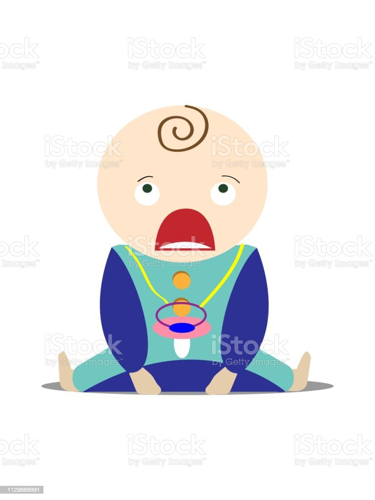 A newborn baby is sitting and crying. Vector illustration. vector art illustration