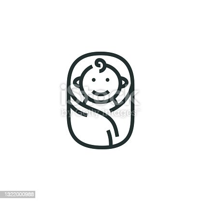 istock Newborn Baby Line Icon 1322000988