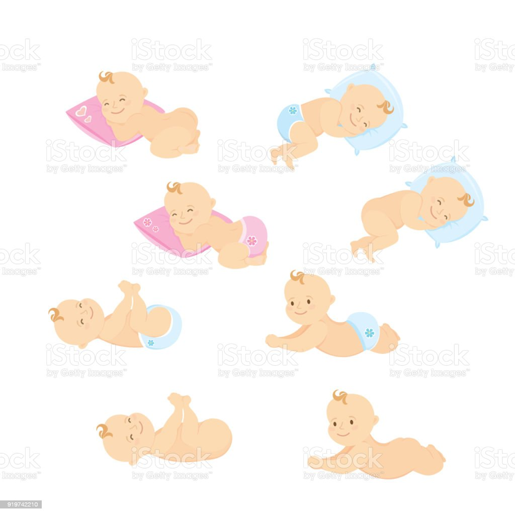 Newborn baby set,isolated on white background - illustrazione arte vettoriale