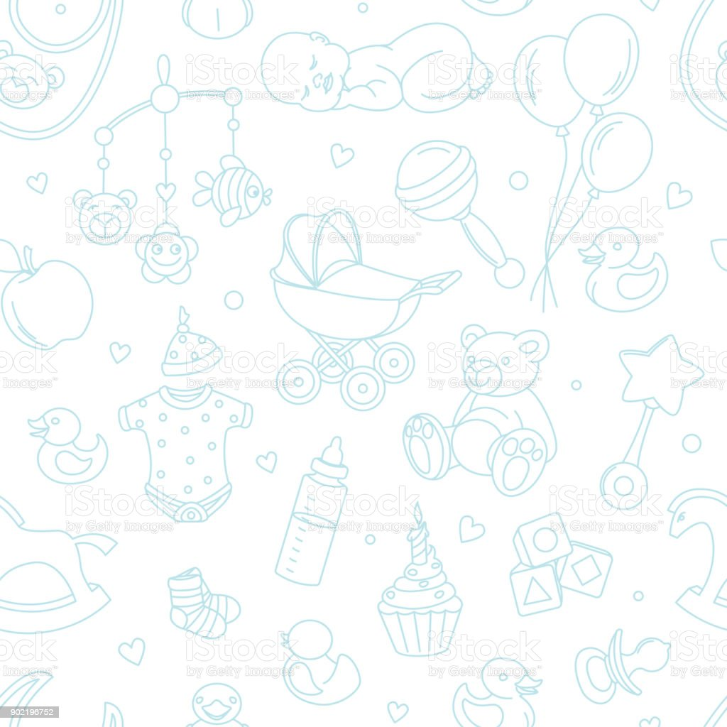 Newborn Baby Shower Seamless Pattern Boy Girl Birthday Celebration
