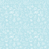 Newborn baby shower seamless pattern boy girl birthday celebration party