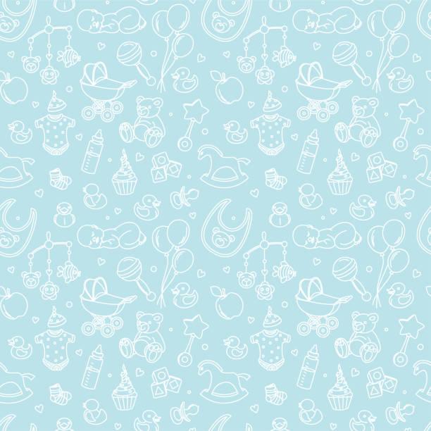 生まれたばかりの赤ちゃんシャワー シームレス パターン少年少女の誕生日祝賀パーティー - 赤ちゃん点のイラスト素材/クリップアート素材/マンガ素材/アイコン素材