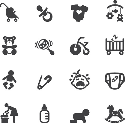Newborn Baby Silhouette Icons Stock Illustration - Download Image Now