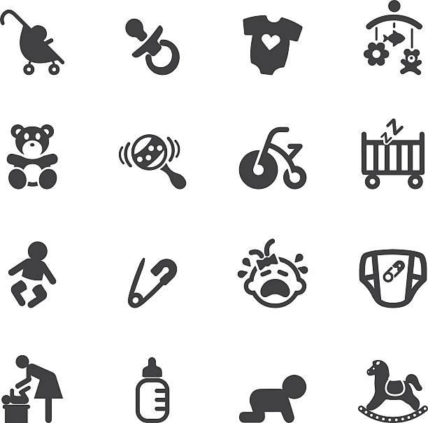 ilustrações, clipart, desenhos animados e ícones de silhueta de ícones do bebê recém-nascido - bebês