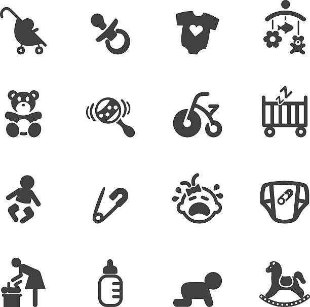 Newborn baby Silhouette  icons vector art illustration