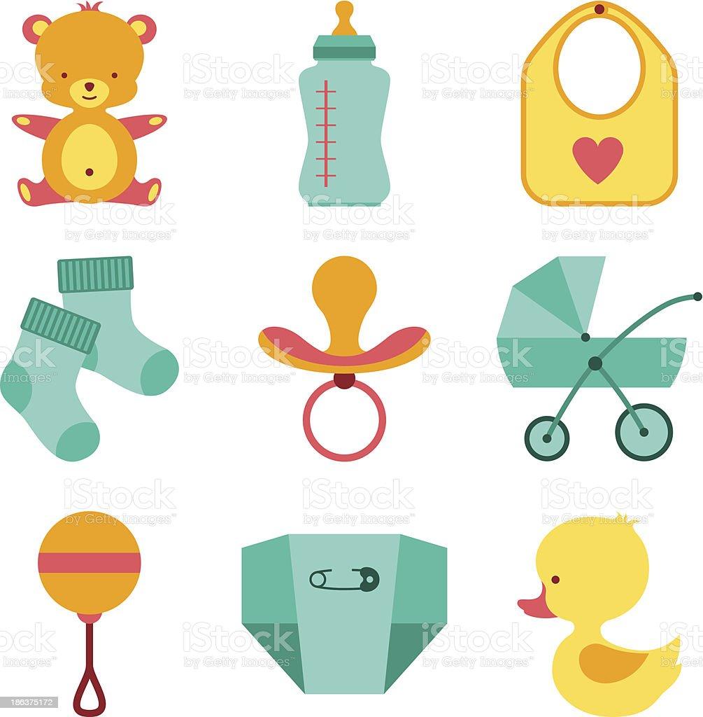 Newborn baby stuff icons set. vector art illustration