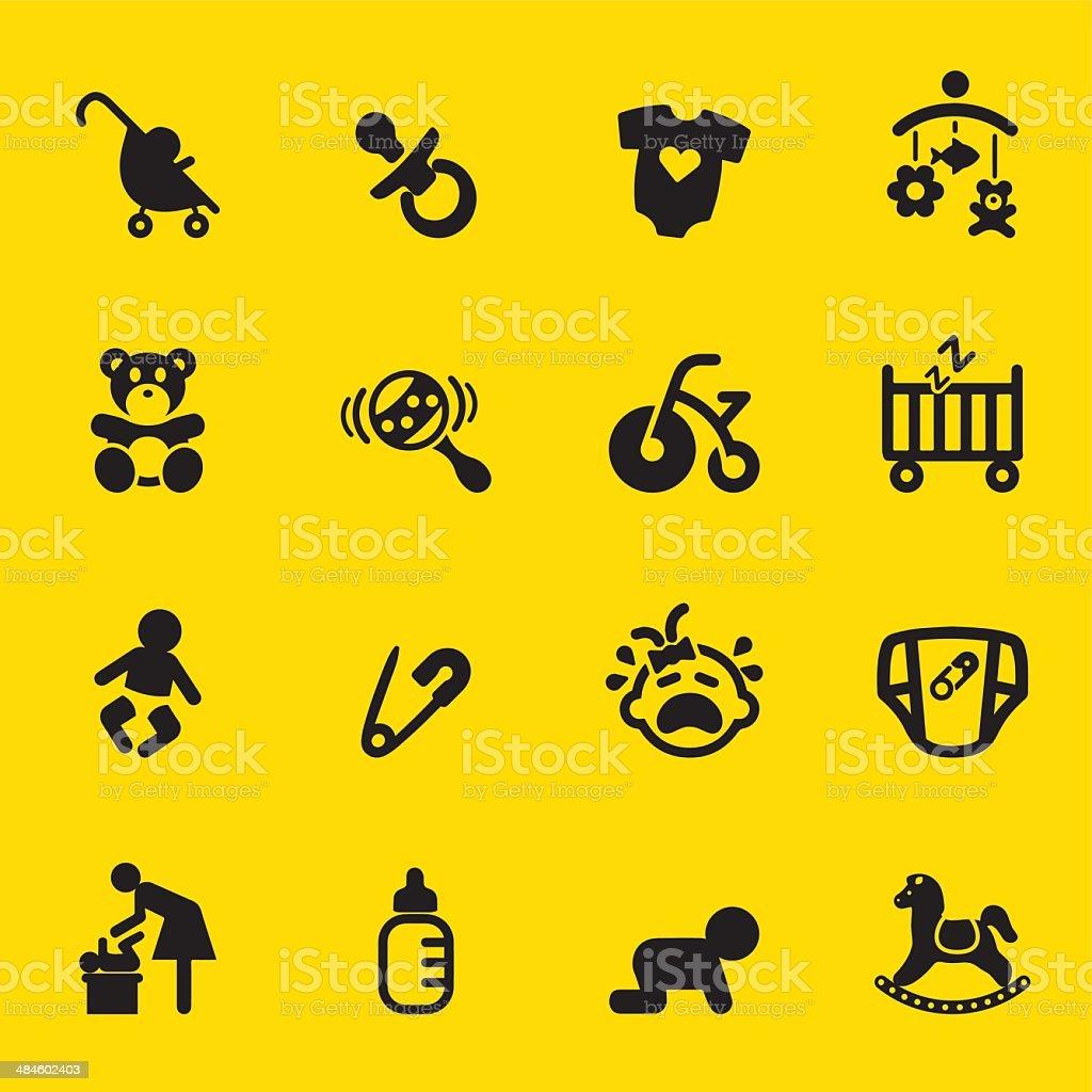 Newborn baby Yellow Silhouette icons vector art illustration