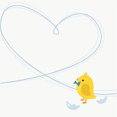 Newborn baby boy chicken greeting card. Copy space for the text.