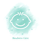 Vector baby boy line icon over watercolor background.