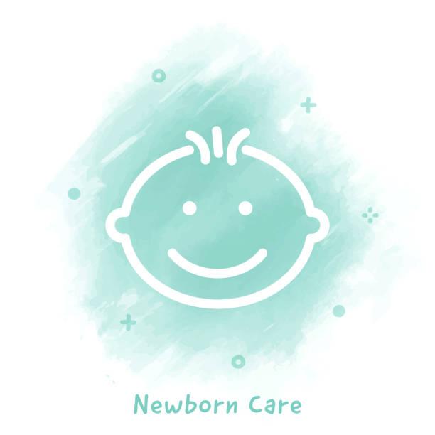 ilustrações, clipart, desenhos animados e ícones de cuidado recém-nascido linha ícone fundo aquarela - novo bebê