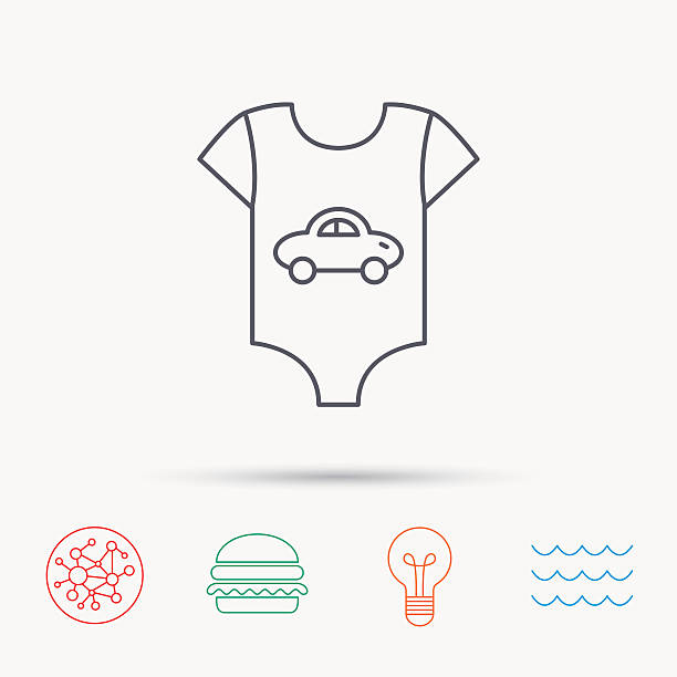 Newborn clothes icon. Baby shirt wear sign. Newborn clothes icon. Baby shirt wear sign. Car symbol. Global connect network, ocean wave and burger icons. Lightbulb lamp symbol. infant bodysuit stock illustrations