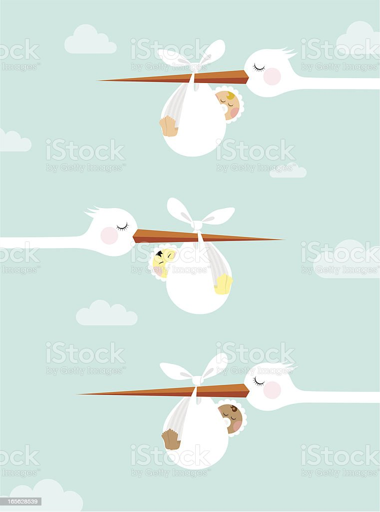 Newborn diversity vector art illustration
