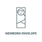 Newborn envelope vector line icon, outline concept, linear sign