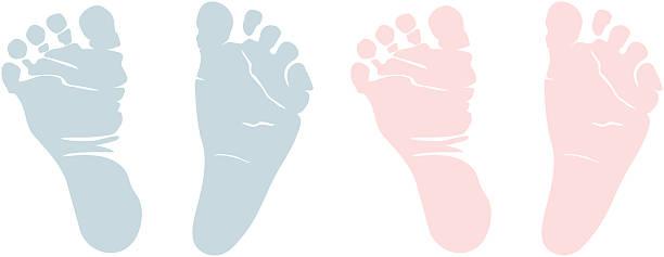 新生児ボーイズ用フットプリント - 赤ちゃん点のイラスト素材/クリップアート素材/マンガ素材/アイコン素材