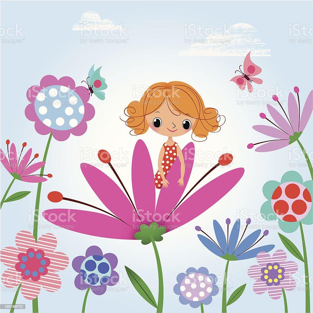 Newborn girl as a Thumbelina. vector art illustration