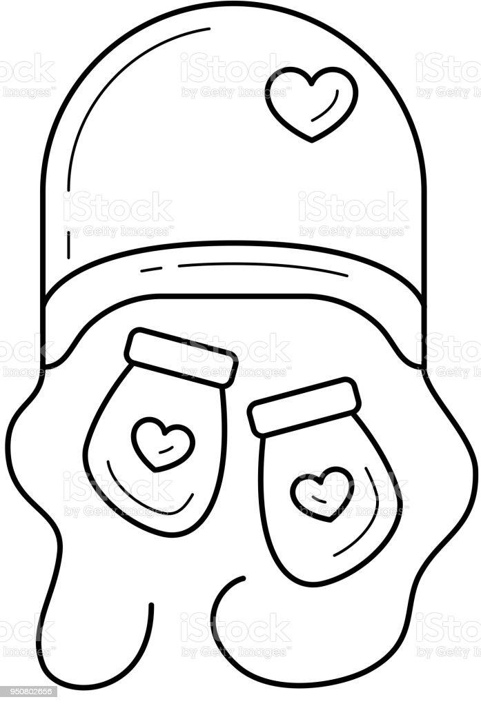 Newborn hat and mittens vector line icon vector art illustration