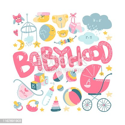 Newborn infant themed cute doodle set. Baby care, feeding, clothing, toys, health care stuff, safety, accessories. Vector drawings isolated Poster