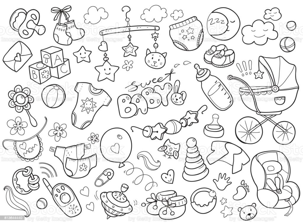 Newborn infant themed doodle set. Baby care, feeding, clothing vector art illustration