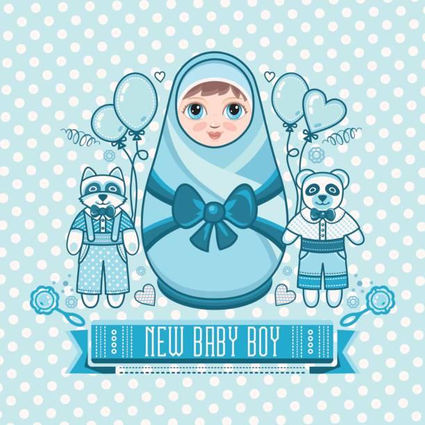 Newborn Little Baby Matryoshka Vector Art Illustration