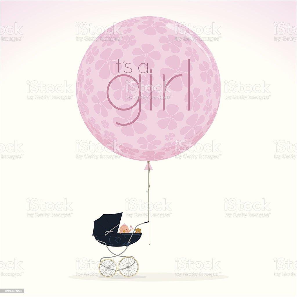 newborn pram stroller itisagirl babyshower cute pink illustration vector vector art illustration