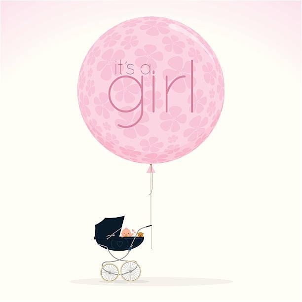 newborn pram stroller itisagirl babyshower cute pink illustration vector http://i681.photobucket.com/albums/vv179/myistock/nb.jpg it's a girl stock illustrations