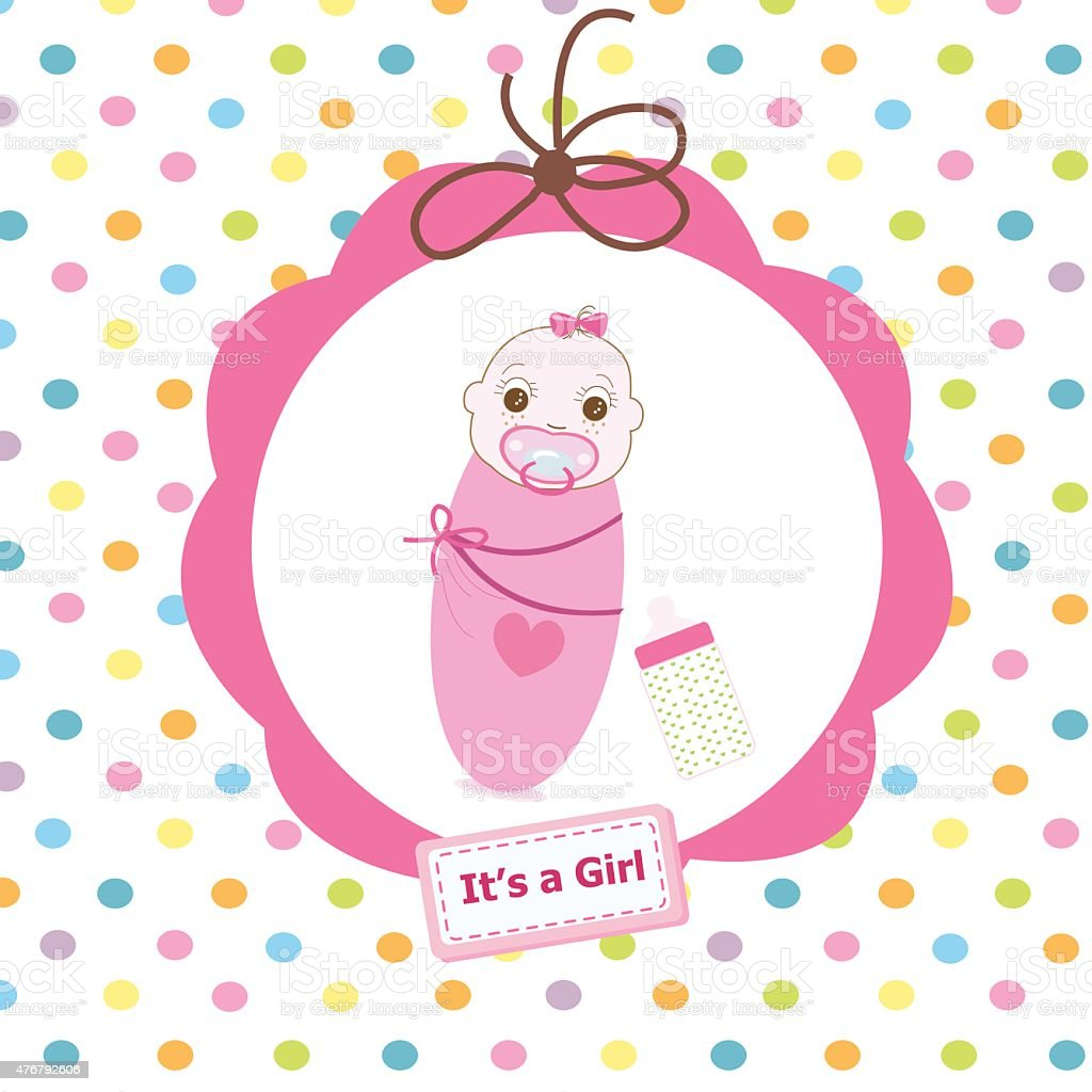 Newborn swaddle baby girl with bottle greeting card stock vector art 2015 activity announcement message arrival baby newborn swaddle baby girl with bottle greeting card m4hsunfo