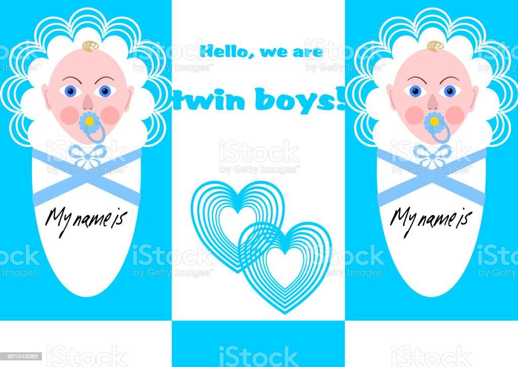 Anúncio de menino recém-nascido gêmeos com dois bebês em design azul - ilustração de arte em vetor