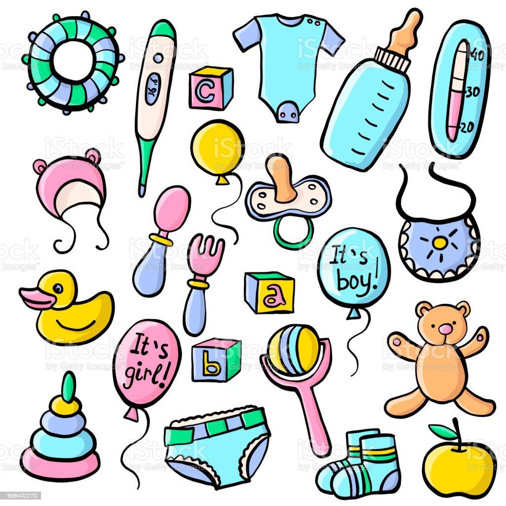 newborn vector set vector art illustration