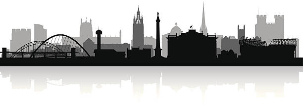 Newcastle England city skyline vector silhouette Newcastle England city skyline silhouette vector illustration northeastern england stock illustrations
