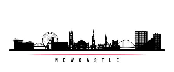 Newcastle skyline horizontal banner. Black and white silhouette of Newcastle, United Kingdom. Vector template for your design. Newcastle skyline horizontal banner. Black and white silhouette of Newcastle, United Kingdom. Vector template for your design. northeastern england stock illustrations
