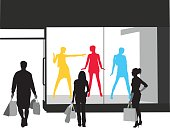A vector silhouette illustration of young adults posed infront of a store window with shopping bags.  Multi-coloured manequins pose wearing different fashions.