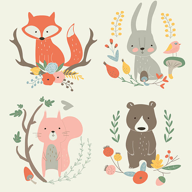 newforestframeset Vector illustration with cute fox, hare, bear and squirrel in floral frames in cartoon style bedroom patterns stock illustrations