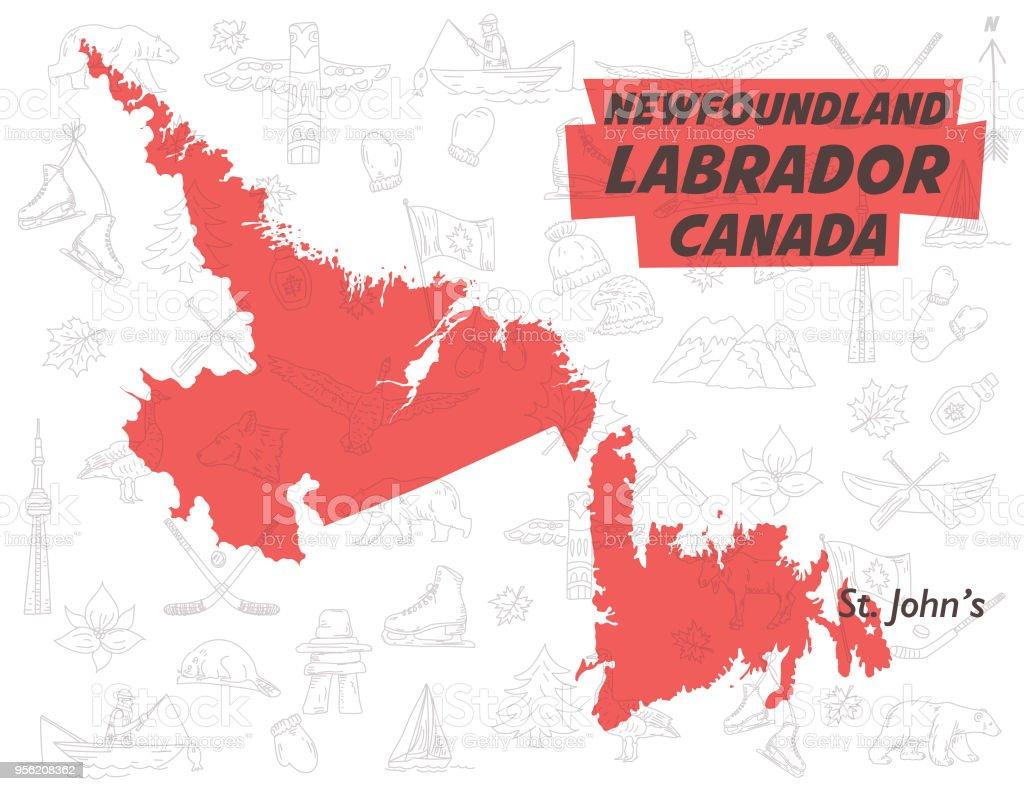 Terranova Y Labrador Canadá Sobre Un Patrón De Dibujos De Doodle ...