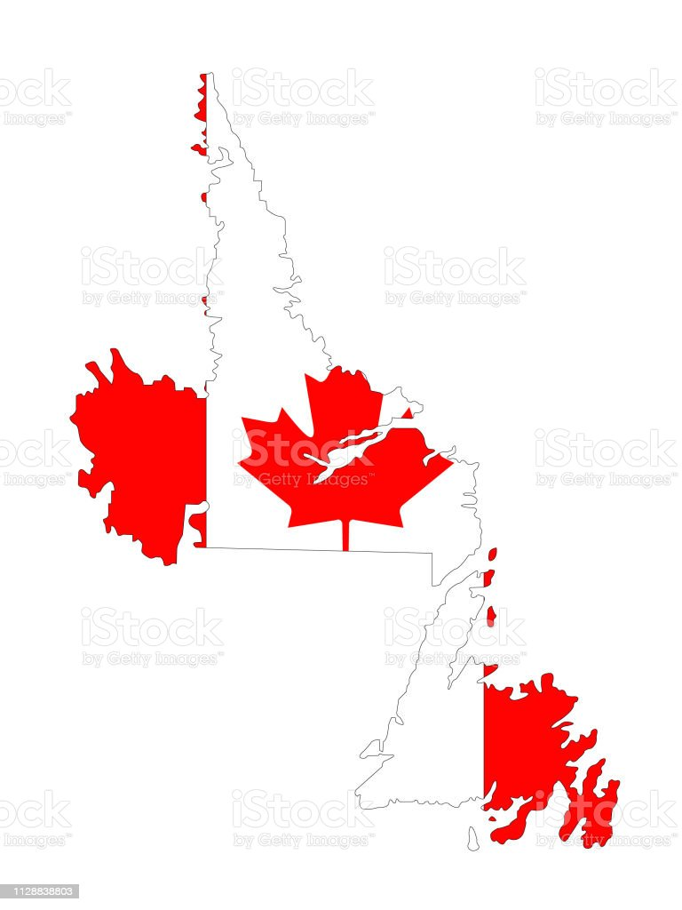 Map Of Canada Newfoundland.Newfoundland And Labrador Map With Canadian Flag Stock Illustration