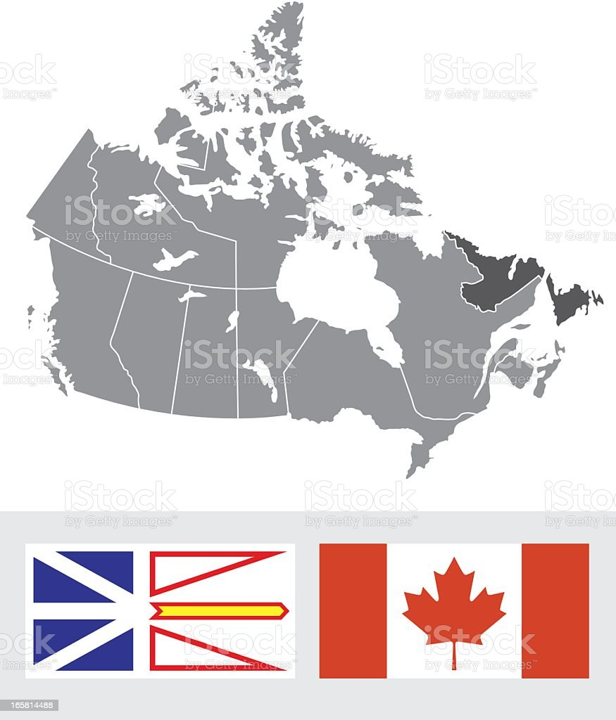 Newfoundland Canada Map And Flag Stock Vector Art More Images of