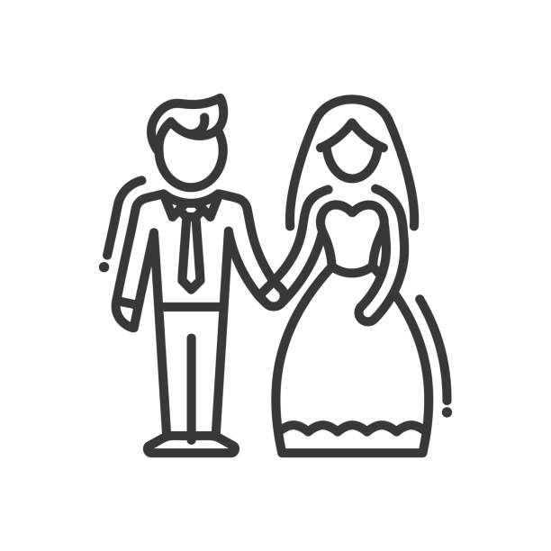 Newly Married Couple - line design single isolated icon Newly maried couple - vector line design single isolated icon, pictogram. Groom and bride standing together bridegroom stock illustrations