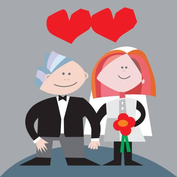 ilustraciones, imágenes clip art, dibujos animados e iconos de stock de recien casados - tintanegra00