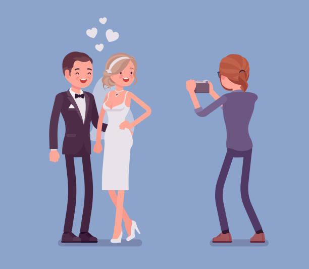 newlywed and photographer - wedding photographer stock illustrations