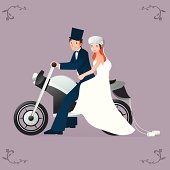 A newlywed biker couple on Motorcycle. Perfect invitation / save the day card made just for the coolest biker brides and grooms!