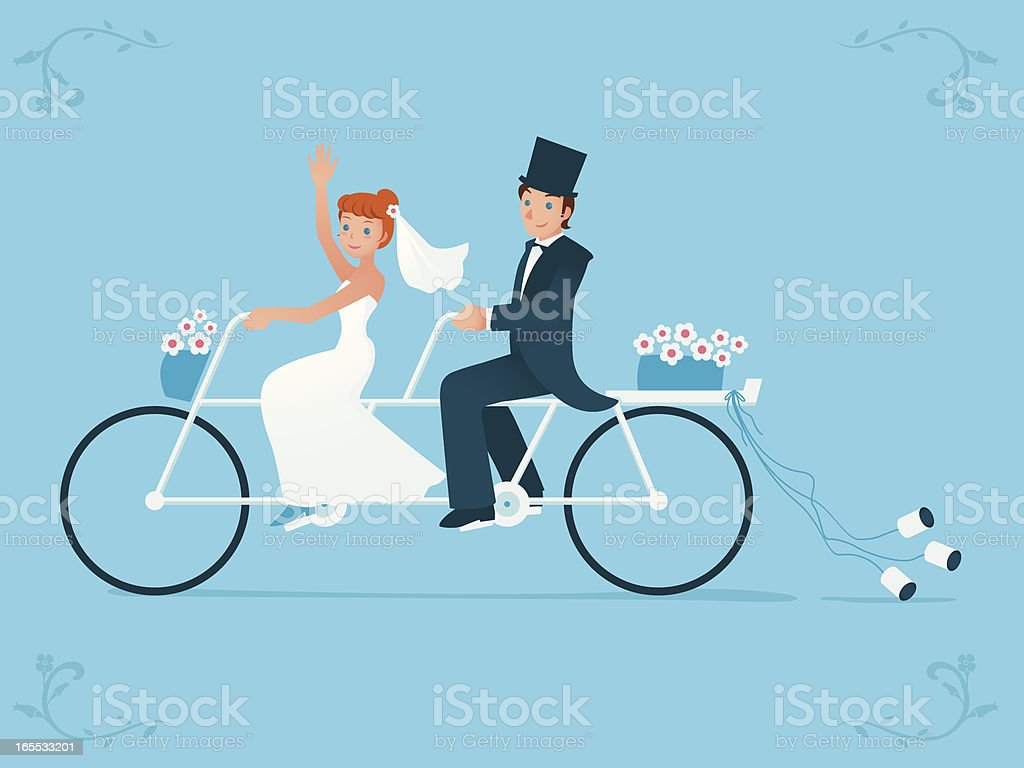 Newlywed bride & groom riding on a Tandem bicycle royalty-free stock vector art