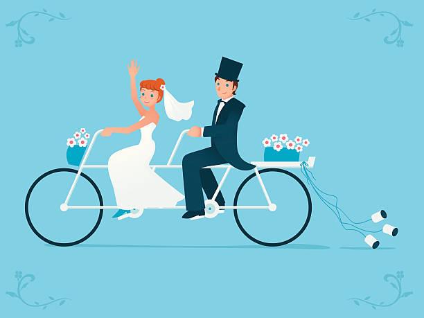 frisch verheiratet braut bräutigam & reiten auf einem tandem-fahrrad - hochzeitspaare stock-grafiken, -clipart, -cartoons und -symbole